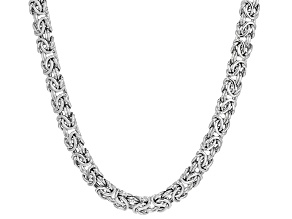 Rhodium Over Sterling Silver 8mm Domed Byzantine Necklace 20 inch