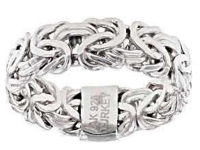 Rhodium Over Sterling Silver 6mm Byzantine Ring