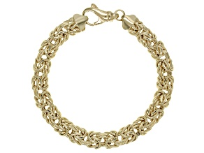 18k Yellow Gold Over Sterling Silver 8mm Domed Byzantine Bracelet