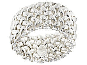 Sterling Silver 13mm Woven Link Wide Band