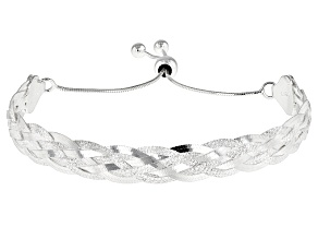 Sterling Silver 6 Strands Braided Herringbone Adjustable Bracelet