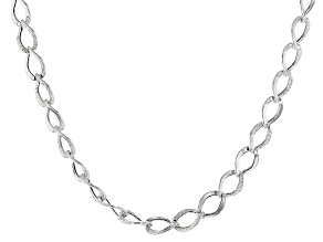 Sterling Silver Hammered And Polished Curb Link Chain Necklace 20 inch
