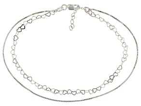 Sterling Silver Two Strand Box And Heart Anklet 9 inch