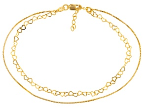 18k Yellow Gold Over Sterling Silver Two Strand Box And Heart Anklet 9 inch