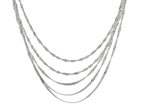 Sterling Silver Singapore Link Multi-Strand Chain Necklace 20 inch