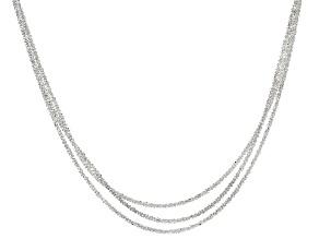 Sterling Silver Diamond Cut Multi-Strand Graduated Chain Necklace 18 inch