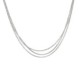 Sterling Silver Diamond Cut Multi-Strand Graduated Chain Necklace 18 inch