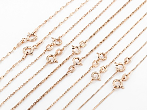 18k Rose Gold Over Sterling Silver Diamond Cut Chain Set 18 And 22 inch