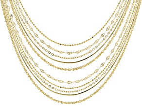 18k Yellow Gold Over Sterling Silver Chain Set 18 And 22 inch
