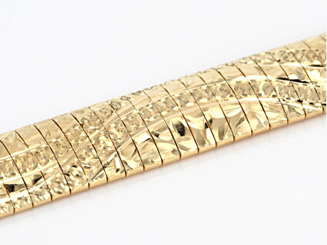 18k Yellow Gold Over Silver Diamond Cut Wave Pattern Omega Bracelet 7.5 inch