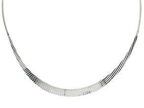 Sterling Silver Diamond Cut Graduated Cleopatra Necklace 18 inch