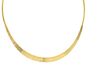18k Yellow Gold Over Silver Diamond Cut Graduated Cleopatra Necklace 18 inch