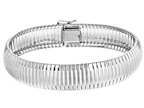 Sterling Silver Ribbed Omega Bracelet 7.75 inch