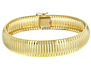 18k Yellow Gold Over Sterling Silver Ribbed Omega Bracelet 7.75 inch