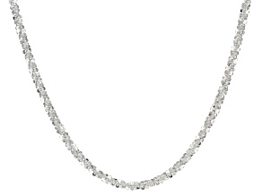 Sterling Silver Diamond Cut Criss-Cross Chain Necklace 22 inch
