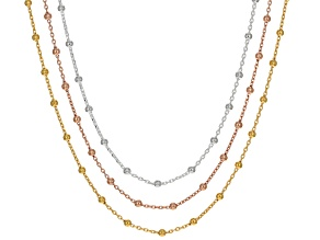 Silver And 18k Rose And Yellow Gold Over Silver Chain Set 20 inch