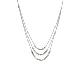 Sterling Silver Graduated Diamond Cut Bead Necklace 20 inch