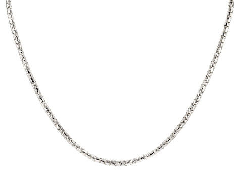 Sterling Silver Round Diamond Cut Designer Chain Necklace 16.5 inch with 2 inch extender