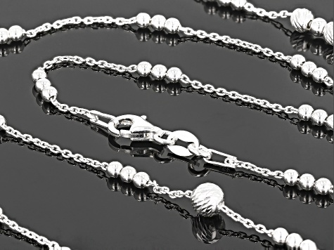 White Cubic Zirconia Sterling Silver Cable Link Station Necklace 35 inch