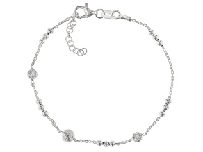 White Cubic Zirconia Sterling Silver Cable Link Station Bracelet 7 inch with 1/2 inch extender