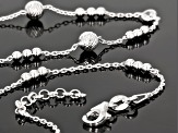 White Cubic Zirconia Sterling Silver Cable Link Station Necklace 18 inch