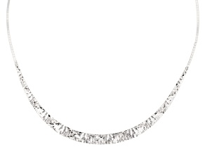 Sterling Silver Graduated Moon Diamond Cut Cleopatra Necklace 18 inch