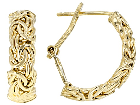 18k Yellow Gold Over Sterling Silver Byzantine Hoop Earrings