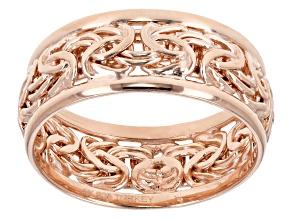 18k Rose Gold Over Sterling Silver Polished Border Byzantine Band Ring