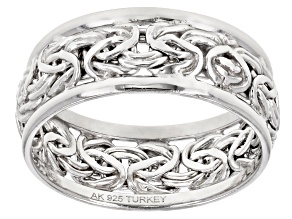 Rhodium Over Sterling Silver Polished Border Byzantine Band Ring