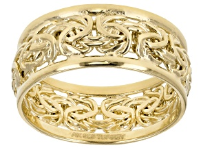 18k Yellow Gold Over Sterling Silver Polished Border Byzantine Band Ring