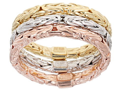 Rhodium And 18k Yellow And Rose Gold Over Silver Byzantine Band Set Of 3