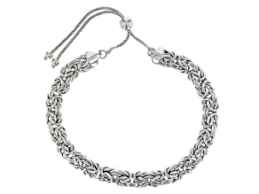 Rhodium Over Sterling Silver Byzantine Adjustable Bracelet