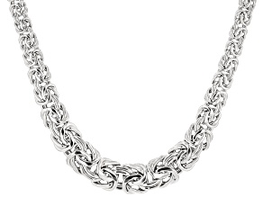 Rhodium Over Sterling Silver 10-18 Graduated Byzantine Necklace 18 inch