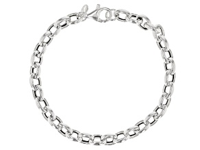 Sterling Silver 6MM Oval Rolo Bracelet 7.5 inch