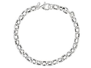 Sterling Silver 6MM Oval Rolo Bracelet 8 inch
