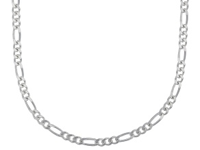 Sterling Silver Diamond Cut Figaro Link Chain Necklace 18 inch