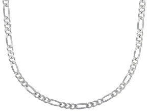 Sterling Silver Diamond Cut figaro Link Chain Necklace 20 inch