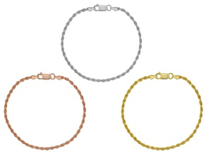 Rhodium And 18k Yellow And Rose Gold Over Silver Bracelet 7.5 inch Set Of 3