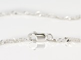 Sterling Silver Diamond Cut Singapore Chain Necklace Set 18, 20, And 24 inch