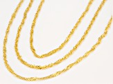 18k Yellow Gold Over Silver Diamond Cut Singapore Chain Necklace Set