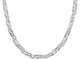 Sterling Silver Diamond Cut Singapore Chain Necklace 24 inch