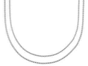 Sterling Silver Box Chain Necklace 18 And 20 inch Set Of 2