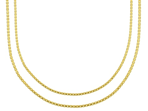 18k Yellow Gold Over Sterling Silver Box Chain Necklace 18, And 20 inch