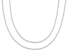 Sterling Silver 0.8MM Rope Chain Necklace 18 And 20 inch Set Of 2