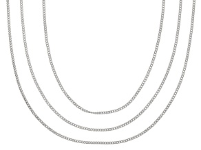 Sterling Silver 0.5MM Diamond Cut Curb Link Chain Necklace 18, 20, And 24 inch