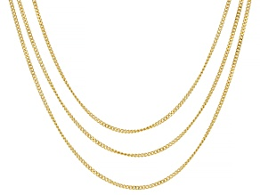 18K Yellow Gold Over Sterling Silver Set Of 3 0.5MM Diamond Cut Curb Link Chains