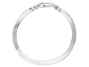 Sterling Silver 4.5mm Herringbone Bracelet 7.5 inch