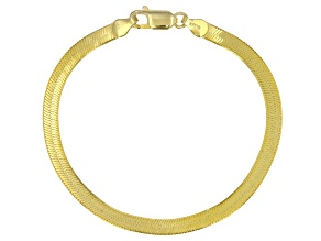 18k Yellow Gold Over Sterling Silver 4.5mm Herringbone Bracelet 7.5 inch