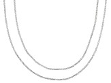 Sterling Silver 7-8mm Twisted Box Chain Necklace 18, 20 inch Set Of 2