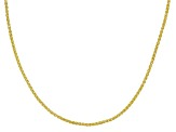 18K Yellow Gold Over Sterling Silver 1mm Adjustable Wheat Chain Necklace 24 inch